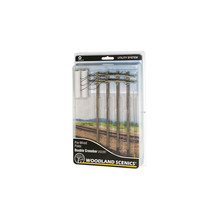 Woodland Scenics O Pre-Wired Utility System Double Crossbar Poles # US2281