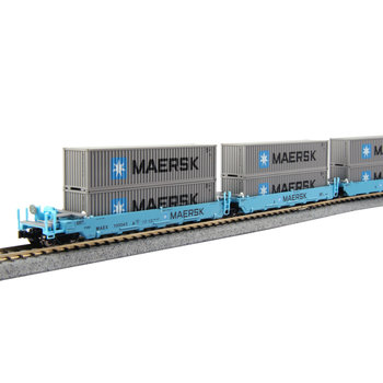 Kato Trains Kato N Scale Maersk 5 pack Gunderson Maxi Double Stack with Containers # 106-6199