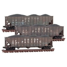 Micro Trains Line N  Union Pacific Weathered 3-Pack Coal Hoppers # 993 05 920