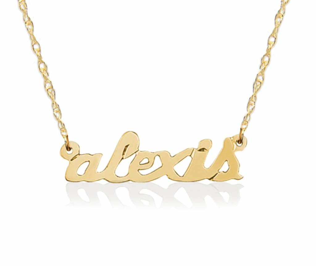 Jane Basch 14kt Gold Petite Name Necklace