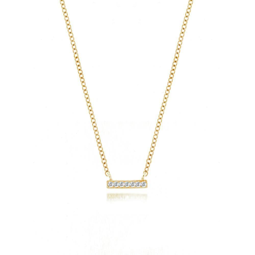 Meira T 14kt white gold mini diamond bar necklace