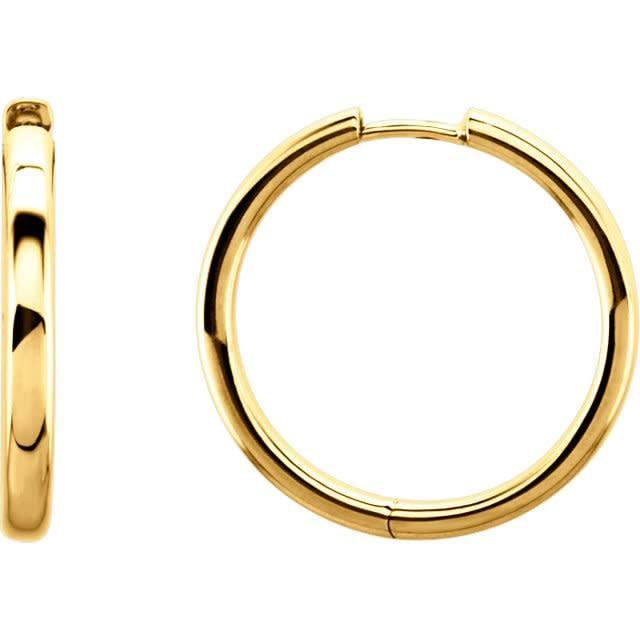 1 inch 14kt yellow gold hoop earrings