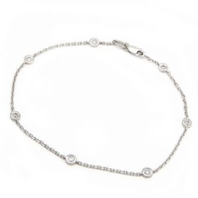 14kt White Gold 6 Diamond Bezel Bracelet