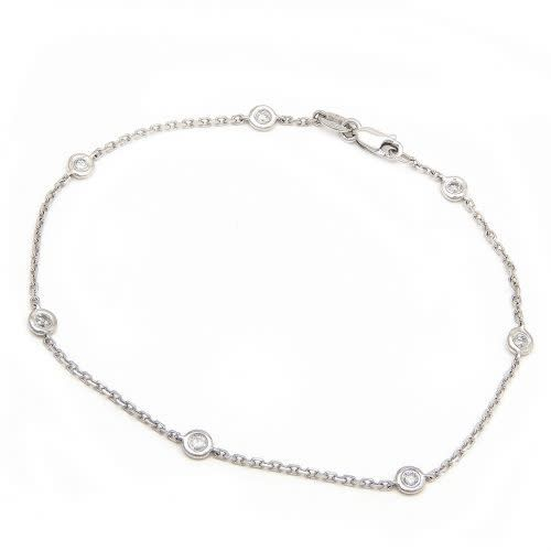 Lau 14kt White Gold 6 Diamond Bezel Bracelet