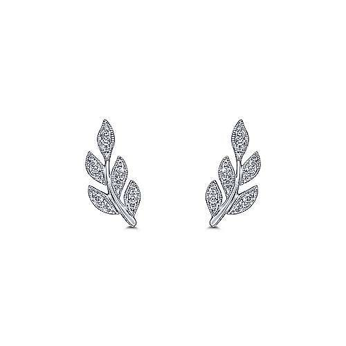 Diamond Leaves Stud Earrings