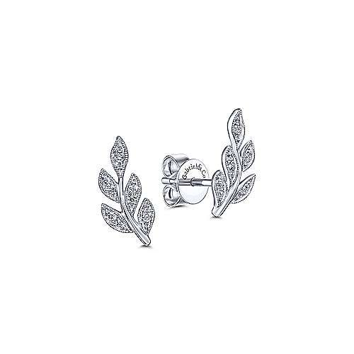 Gabriel & Co Diamond Leaves Stud Earrings