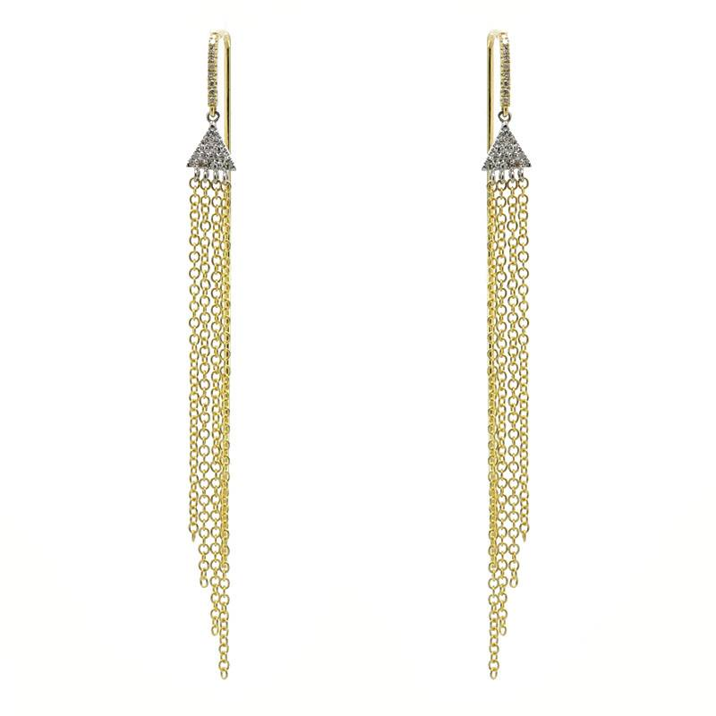 Meira T 14kt Gold Chandelier Diamond Chain Earrings