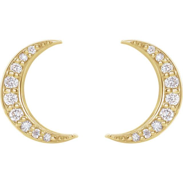Stuller Crescent Moon Diamond Stud Earrings