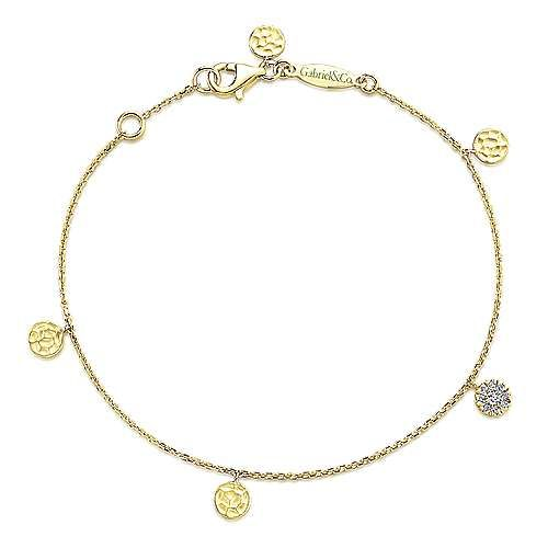 TB3961 Yellow Gold Chain Bracelet with Accents