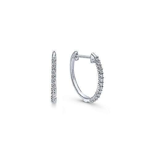 14kt White Gold 15mm Diamond Hoop Earrings