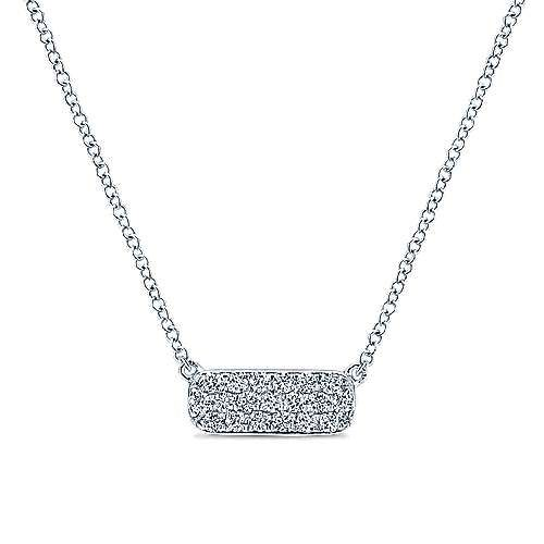 Gabriel & Co NK4943 Rectangular Diamond Bar Necklace