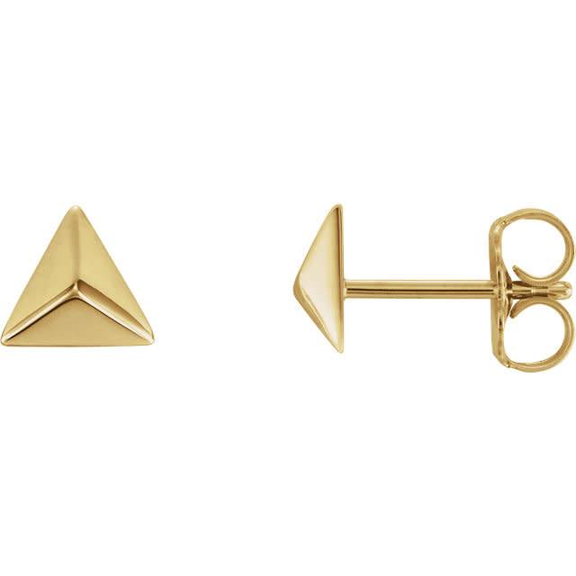 14kt Gold Pyramid Earrings