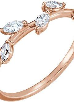 14kt gold diamond leaf ring (1/3 carat total)