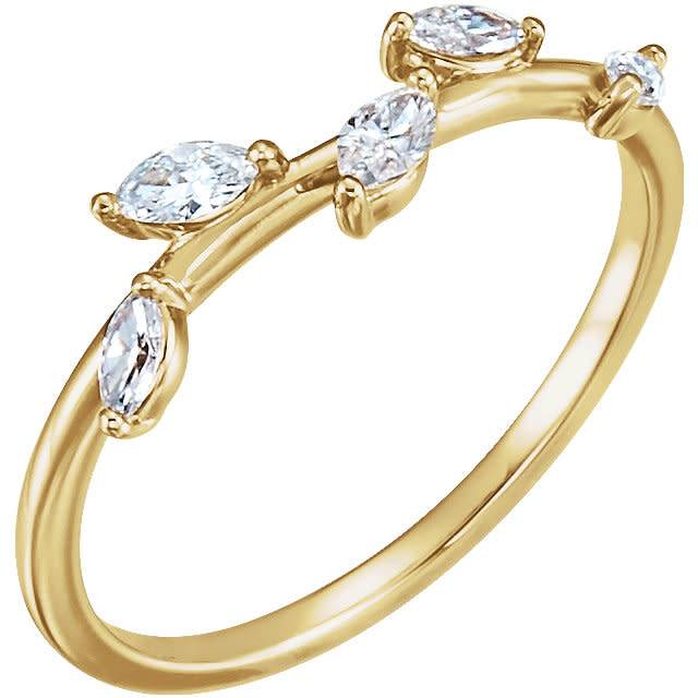 Stuller 14kt gold diamond leaf ring (1/3 carat total)
