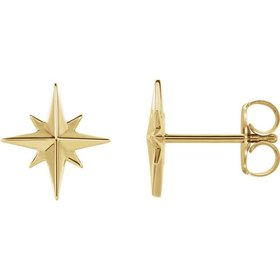 14kt Gold Star Earrings
