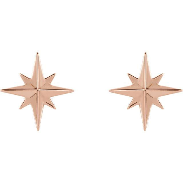 Stuller 14kt Gold Star Earrings