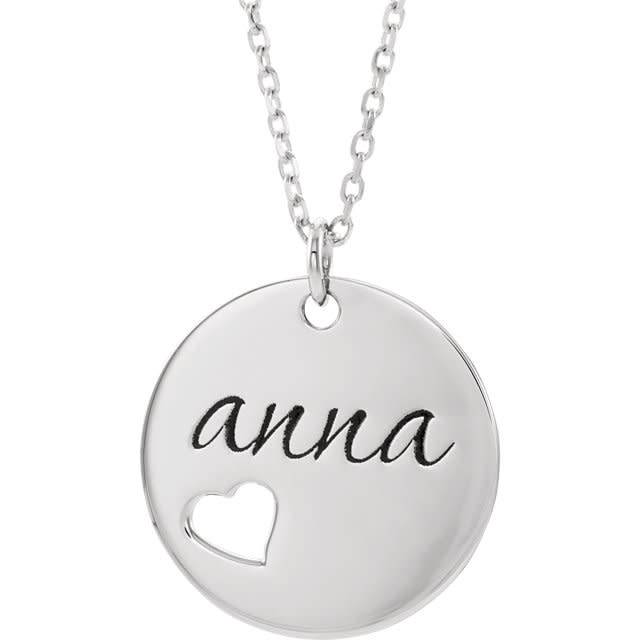 Pierced Heart Engravable Disc Necklace