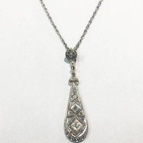 Antique 14kt Gold Diamond Drop Pendant Necklace