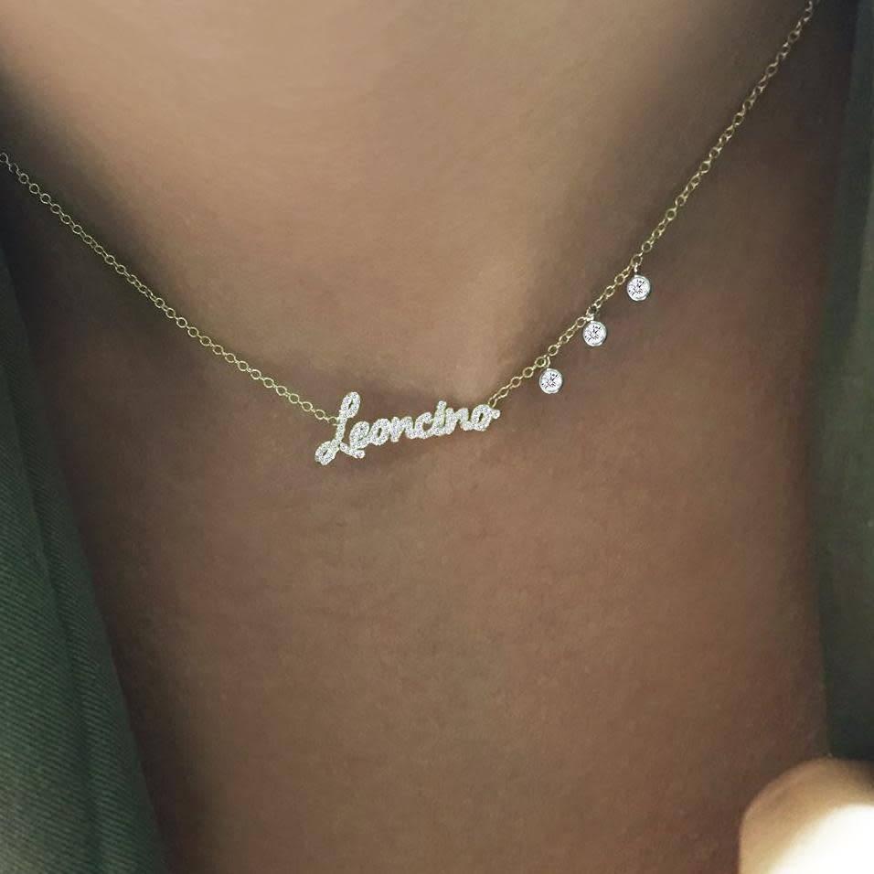 Meira T Diamond Script Necklace