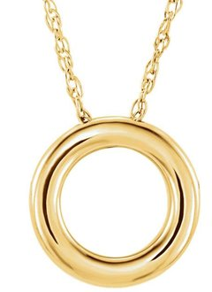 14kt gold circle necklace 18mm x 13mm