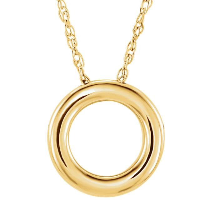 Stuller 14kt gold circle necklace 18mm x 13mm