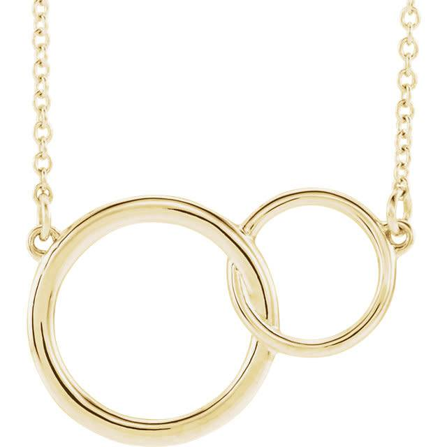14kt yellow gold interlocking circle necklace