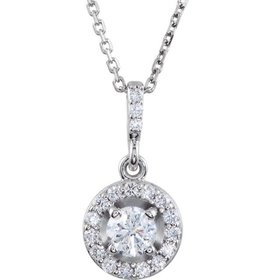 Diamond Halo Pendant Necklace 1/2 carat total