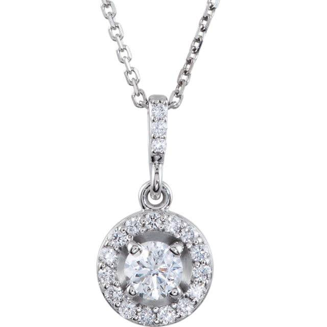 Stuller Diamond Halo Pendant Necklace 1/2 carat total