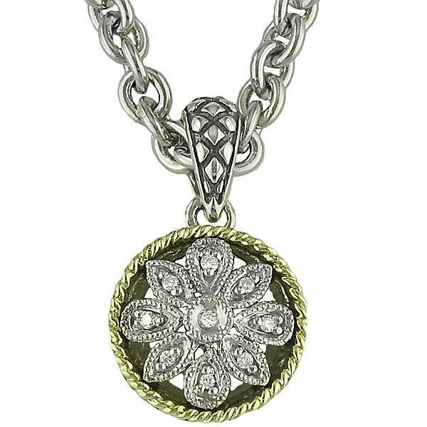 Andrea Candela Andrea Candela Diamond Circle Flower Pendant Necklace