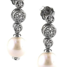 ACE304P  Pearl filigree drop earrings