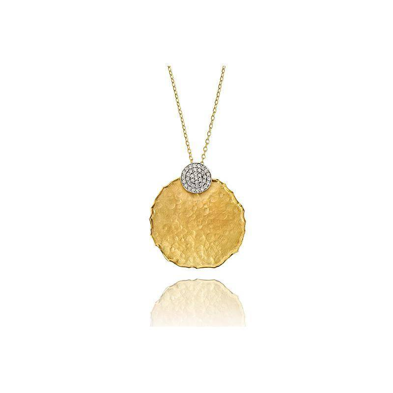I. Reiss IR3431Y hammered gold necklace