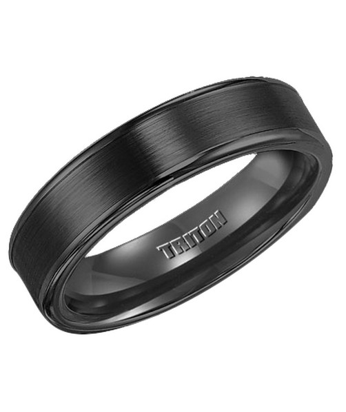 11-2117 black tungsten brushed wedding ring