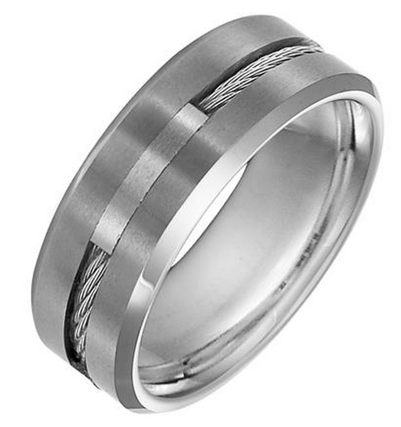 Tungston Carbide Wedding Rings.11 3289 Cable Inlay Tungsten Carbide Band