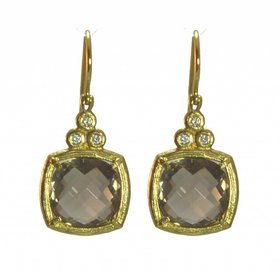 14kt yellow gold smoky topaz and diamond earrings