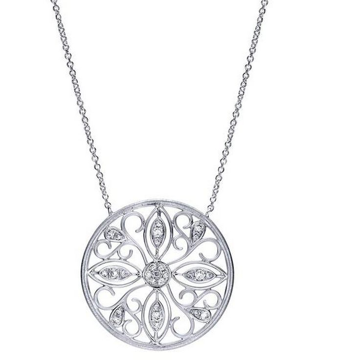 Gabriel & Co NK3878 silver and diamond pendant