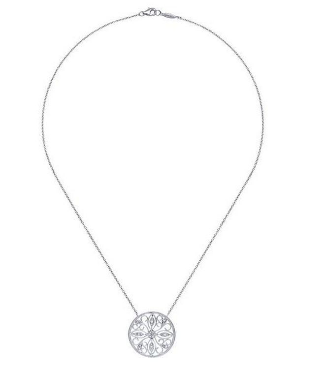 Gabriel & Co NK3878 silver and diamond pendant