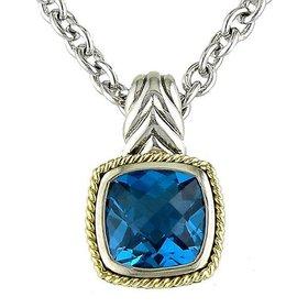 ACP99-BT Blue Topaz Pendant Necklace
