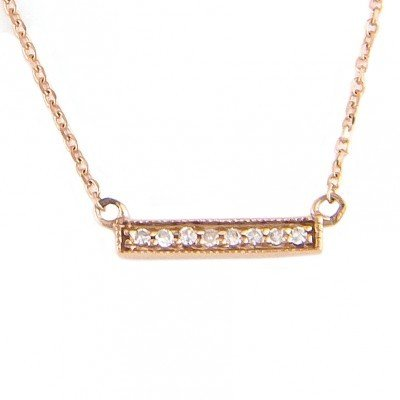 Lau 14kt Rose Gold Mini Diamond Bar Necklace