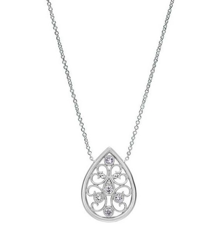 Gabriel & Co NK4075  Silver and Diamond Tear Drop Necklace