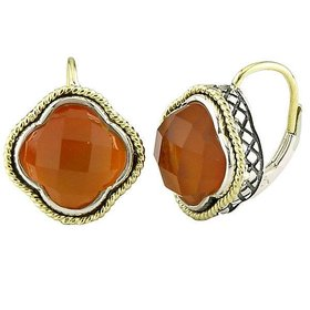 ACE126 Red Agate Clover Earrings