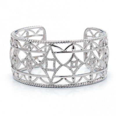 B0365 Silver and Diamond Cuff Bracelet