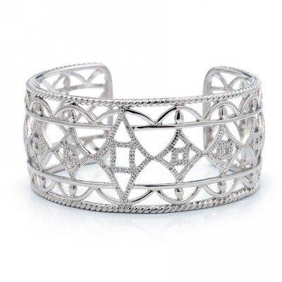Lau B0365 Silver and Diamond Cuff Bracelet