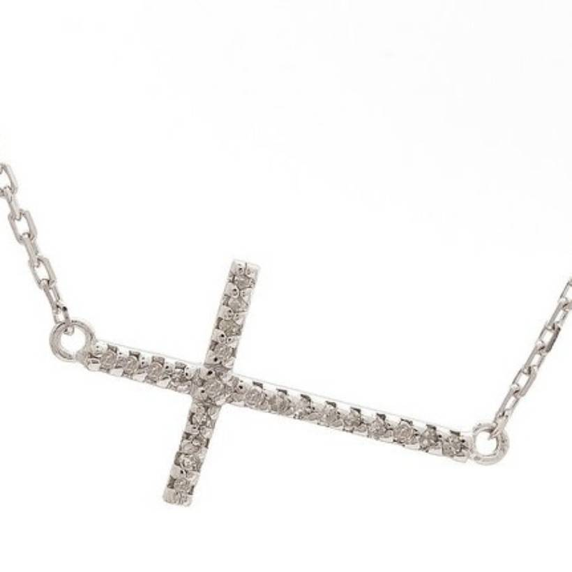 Lau Silver Diamond Cross Necklace