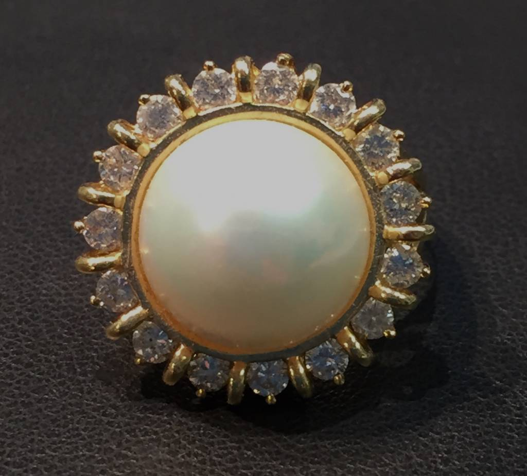 Freedman Mabe Pearl and Diamond Estate Ring