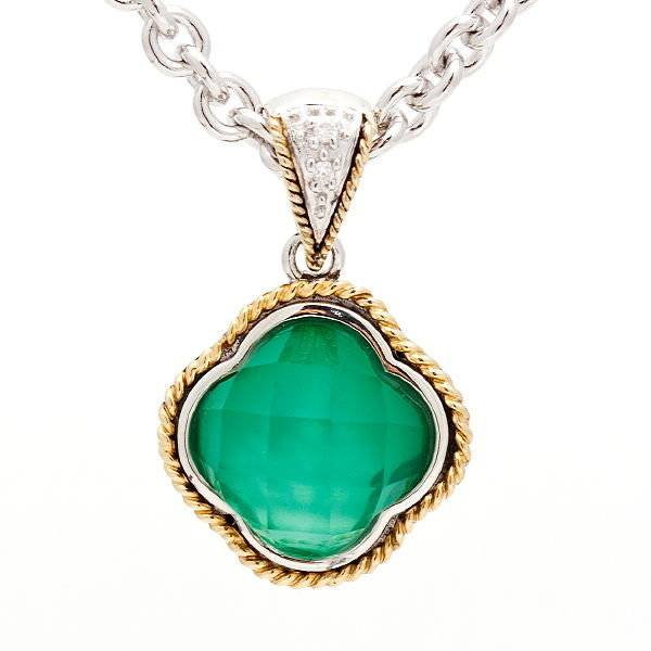 Andrea Candela ACP130 Green Agate Clover Pendant