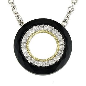 ACN99 Black Onyx and White Topaz Necklace