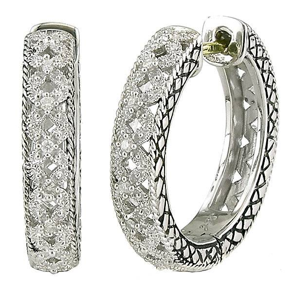 Andrea Candela ACE227 filigree diamond hoop earrings