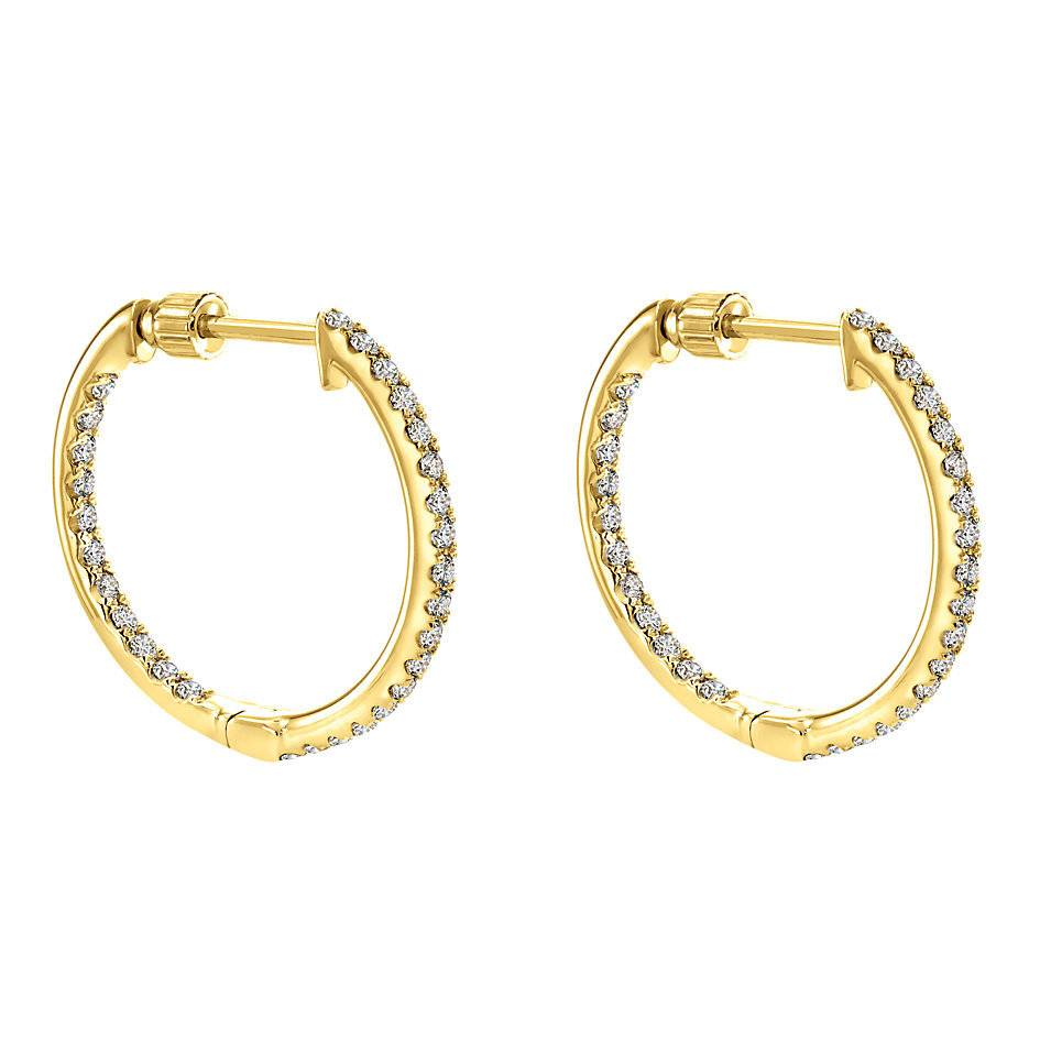 EG10856 14kt yellow gold diamond hoop earrings