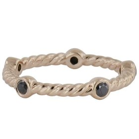 Novell LD16870 cable style stackable band with black diamonds