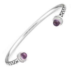 ACB293 rose quartz & diamond bangle bracelet